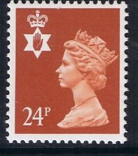 GB QEII Northern Ireland. SG NI57 24p Indian Red PP. Regional Stamp MNH