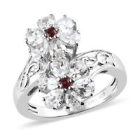 925 Sterling Silver Platinum Over Zircon Garnet Flower Ring Gift Size 10 Ct 3.4