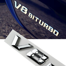 2 Pcs V8 BITURBO Rear & Fender Silver Badge Emblems 3D Sticker All Type S242