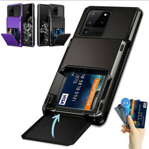 For Samsung S20 FE S21 Note 20 Ultra S10 S9 S8 Wallet Card Slot Armor Case Cover