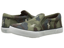 Polo Ralph Lauren 'bal Harbour' Army Camo Khaki Kids Slip on Trainers UK 10.5 Infant