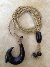 """Hawaiian Fishhook Necklace Carved From Buffalo Horn 2"""" Tall.with Adjustable cord"""