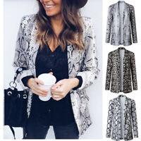 Women Snakeskin Leopard Print Blazer Coat Open Front Casual Jacket Casual Autumn