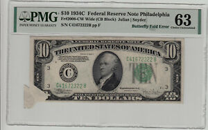 Fr 008-CW 1934C $10 Federal Reserve Note Butterfly Fold Error PMG Choice Unc 63