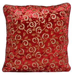 Red Velvet Cushion Covers Decorative Golden Sparkle Print Flower Leaf 40cm