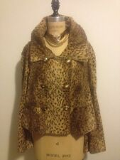 Gianni Versace Vintage VERSUS Leopard Animal Faux Fur Jacket Coat 1990s IT 44