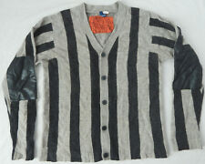 Divided H&M Lambs Wool Black Gray Striped Cardigan Sweater - Large Mens Elbow