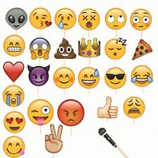 EMOJI FACES PHOTO BOOTH PROPS FUNNY SELFIE BIRTHDAY PARTY SUPPLIES SET OF 27pcs