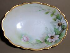 "Exquisite Hand Painted Floral Tressemann Vogt TV Limoges Gilt Oval Dish 6.6 x 5"""