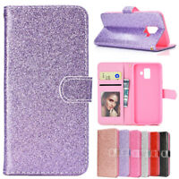 For Samsung S9 plus/A8 A6 plus 2018 Glitter Bling Leather Flip Wallet Case Cover