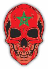 "Skull Flag Morocco Car Bumper Sticker 4"" x 5"""