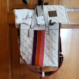 NEW 89145 Coach Carriage print & Varsity stripe field Tote Shoulder Bag NWT