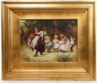 Antique S. Davis Oil on Board Painting, XIX C.