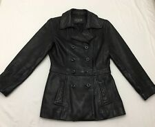 Guess Womens Black Genuine Leather Jacket Coat Double Button