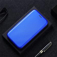 For Asus Zenfone 8, Luxury Magnetic Flip Carbon Fiber Wallet Card Case Cover
