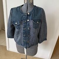 CHICO'S Women Denim Jean Jacket Sz 1 (M-8) Blue Jean And Tweed Button Front