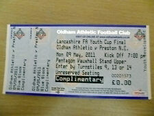 Tickets- 2011 FA Youth Cup FINAL- OLDHAM ATHLETIC v PRESTON N. E, 9 May (Unused)