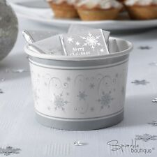 SILVER SNOWFLAKE Christmas TREAT TUBS/Small Bowls-Xmas Party- FULL RANGE IN SHOP
