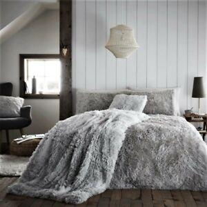 Luxury HUG SNUG Fluffy Fur Duvet Cover Set Matching Blanket Cushion Cover Pillow