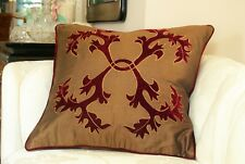 Decorative Pillow Cushion Cover 18x18 in Gold and Burgundy with applique design