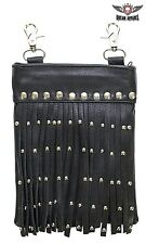 Women's Premium Black Leather Belt Bag with Studs and Fringe - free shipping