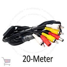 Cctv 20 metros Rca audio video AV de alimentación Cable de cámara DVR sistema UKES