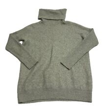 Vince Solid Gray Directional Rib Turtleneck Wool Cashmere Blend Pullover Sweater