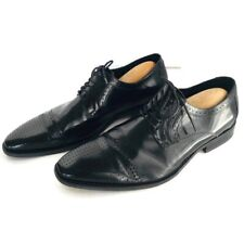 STACY ADAMS BLACK LEATHER PERFORATED CAP TOE OXFORDS DRESS SHOES MENS SIZE 12M