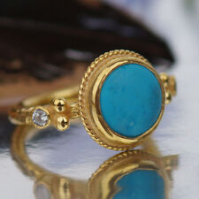 FREE SIZE Roman Art Handmade Sterling Silver Turquoise Ring 24k Gold Vermeil