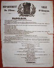 ANCIENNE AFFICHE SECOND EMPIRE CRÉATION 13ème BUREAU D'OCTROI à ALENÇON 1859