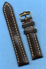 GOLD ROLEX BUCKLE &  18mm GENUINE BROWN LEATHER STRAP BAND WHITE STITCH PADDED