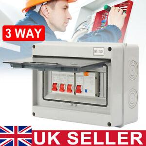 3 Way Garage Shed Consumer Unit Fuse Box Machine 63A 30mA RCD + 3MCB(6A+16A+32A)