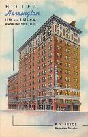 Washington D.C. District of Columbia Postcard Linen HOTEL HARRINGTON 29