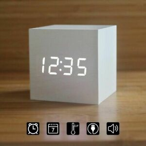 LED Wooden Alarm Clock Watch Table Voice Control Digital Wood Electronic Decor