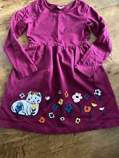 Girls Hanna Andersson Kitty Flower Appliqué Dress 140 US 10 EUC