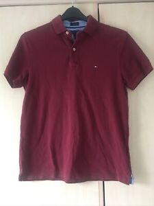 Tommy Hilfiger Burgandy Custom Fit  Small Logo Polo Shirt Size Small.