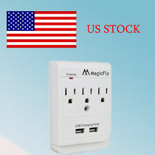 Top Power 3 AC Outlet Wall Mount Surge Protector with Dual USB Charging Port