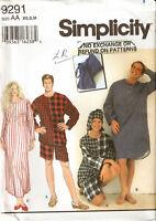 Misses  Mens Unisex Simplicity Pattern 9291 Pajamas Nightshirt Nightcap XS S M