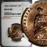 GREAT BRITAIN Victoria (1837-1901) 1855 1/2 Penny NGC MS64 RB 28 mm KM# 726