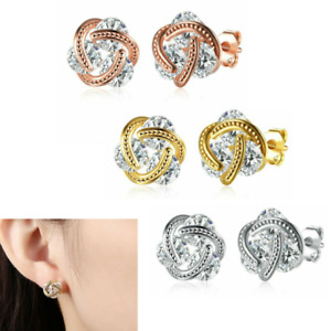 14K Rose Gold 925 Silver Love Knot Stud Earrings with Swarovski Crystals A Grade