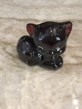 Vintage Black Cat Kitten Redware Red Clay Figurine Japan Unmarked Cute