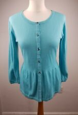 Boden Green Cotton Blend 3-4 Sleeves Buttoned Thin Knit Cardigan Size 14