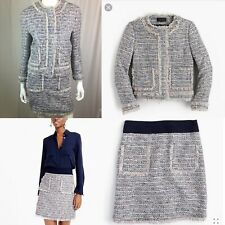 $428 J. Crew Women's 8 Tweed Zip Lady Jacket Fringe 4 Straight Pencil Skirt Suit
