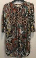 Fig & Flower (Anthropologie) Long Tunic Sz S 3/4 Sleeve Paisley Multicolor Hi-Lo
