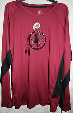 NWT Majestic Crew Long Sleeve Sport Tee shirt XXL mens RedSkins NFL coolbase