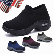 Women's Air Cushion Sport Running Shoes Breathable Mesh Walking Slip-On Sneakers