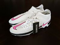 NIKE PHANTOM GT ACADEMY DF FG/MG CW6667-160 WHITE-PINK-BLACK Cleats Men's 10.5