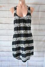 Quicksilver Shift Silk Dress Black White Red Floral Sleeveless Size Small