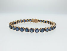 Natural Blue Sapphires (17.00TCW!)Solid 14K Yellow Gold Tennis Bracelet 6.5""