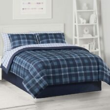 KING The Big One 8PC Blue Plaid Reversible Comforter Set with Sheets